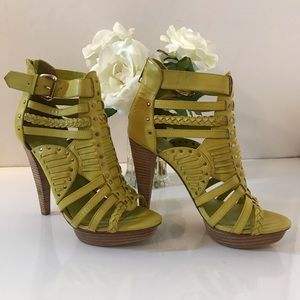 Chartreuse Strappy Booties